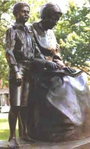 Thomas Eddison and his Mother Nancy - bronze statue